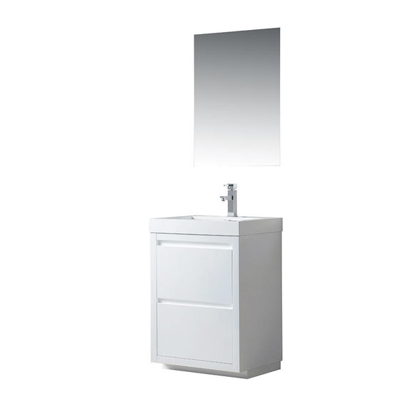 Vanity Art Single-Sink Bathroom Vanity With Resin Top, 24