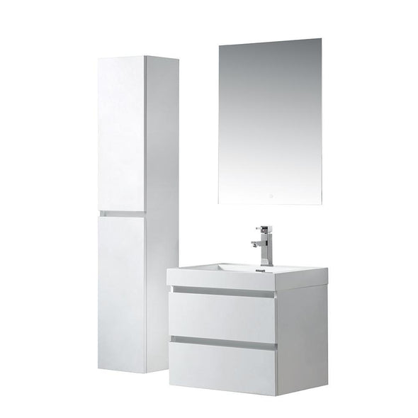 Vanity Art Wall-Hung Single-Sink Bathroom Vanity With Resin Top, 24