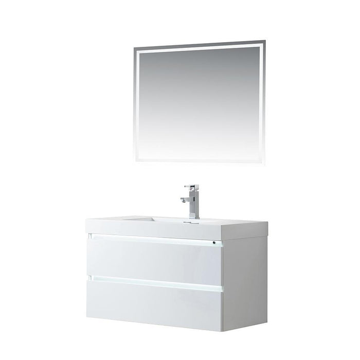 Vanity Art LED Lighted Wall-Hung Single-Sink Vanity With Resin Top, 36""