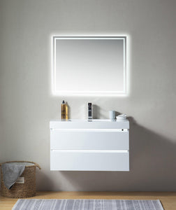"Vanity Art LED Lighted Wall-Hung Single-Sink Vanity With Resin Top, 36"" test"