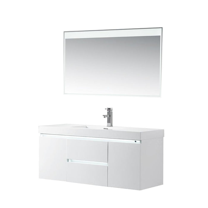Vanity Art LED Lighted Wall-Hung Single-Sink Vanity With Resin Top, 48""