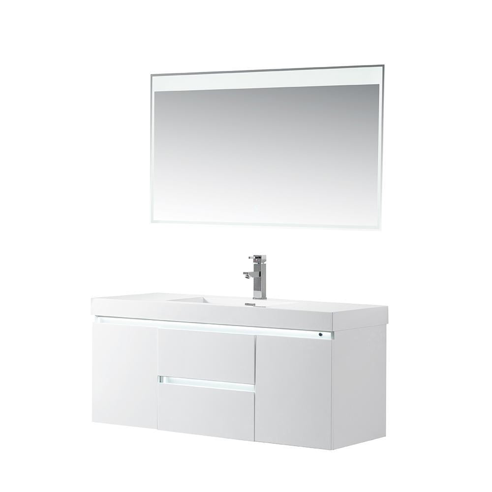 Vanity Art LED Lighted Wall-Hung Single-Sink Vanity With Resin Top, 48