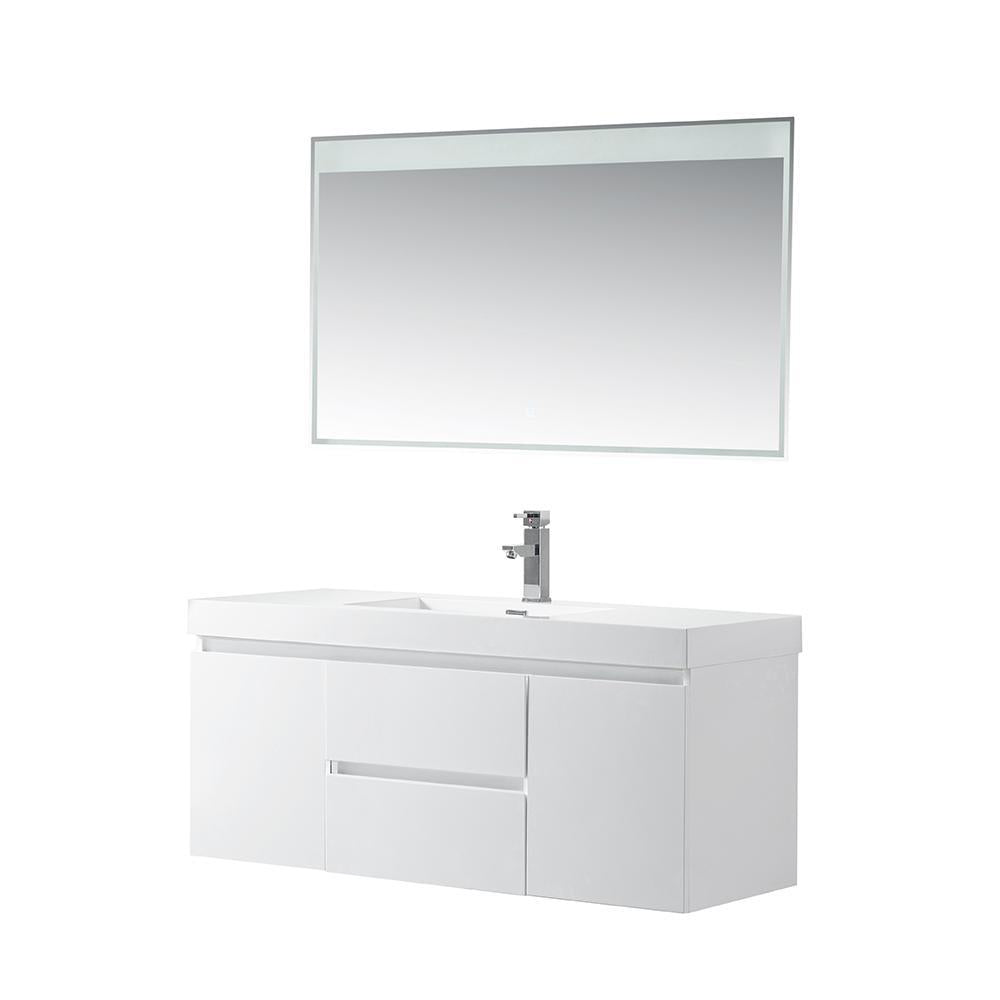 Vanity Art Wall-Hung Single-Sink Bathroom Vanity With Resin Top, 48
