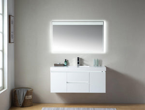 "Vanity Art LED Lighted Wall-Hung Single-Sink Vanity With Resin Top, 48"" test"