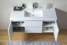 Vanity Art Wall-Hung Single-Sink Bathroom Vanity With Resin Top, 48""