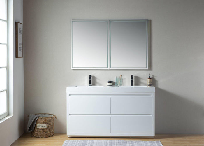 Vanity Art White Resin 60-inch Double Sink Bathroom Vanity