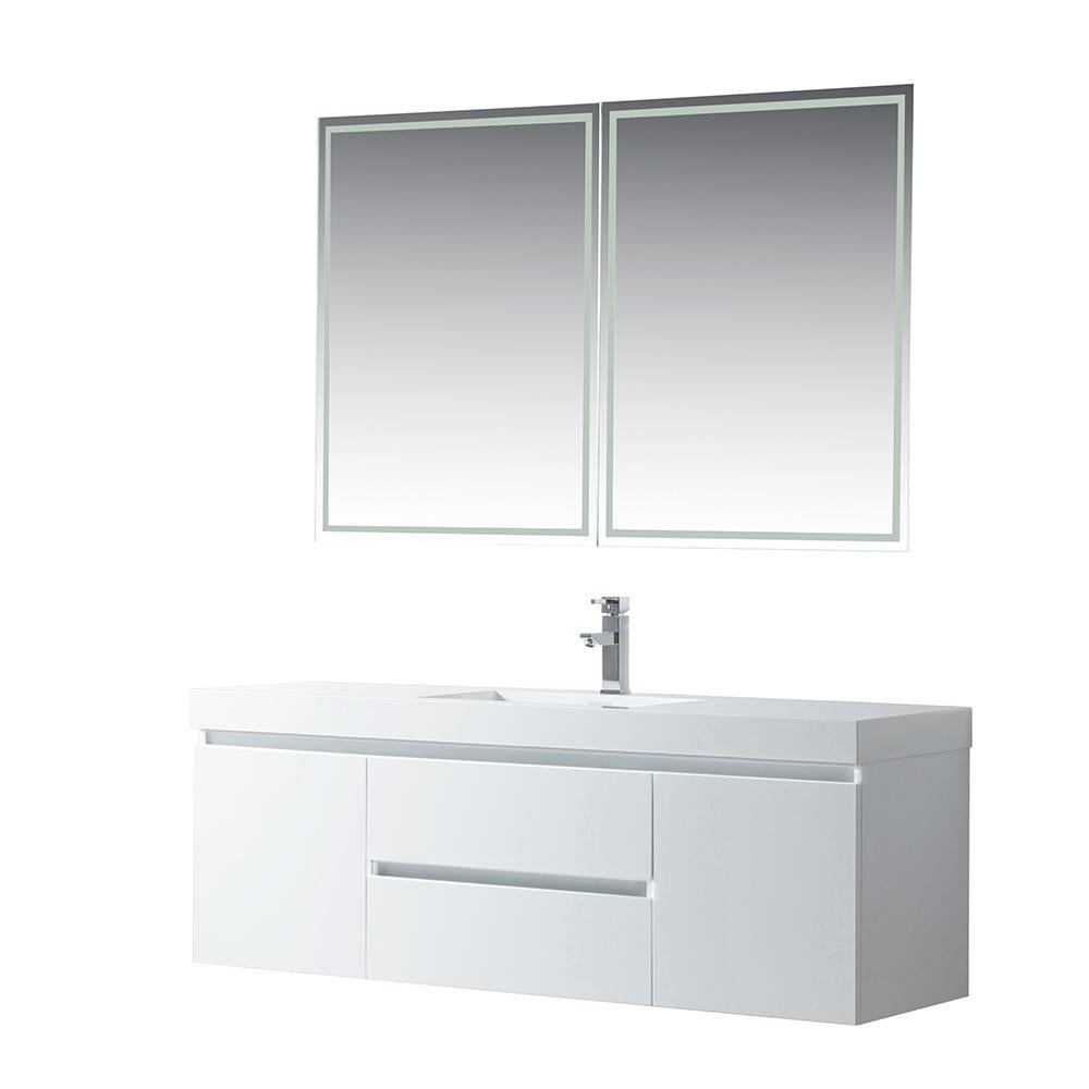 Vanity Art LED Lighted Wall-Hung Single-Sink Vanity With ...