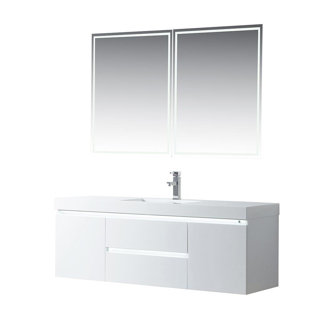 Vanity Art LED Lighted Wall-Hung Single-Sink Vanity With Resin Top, 60