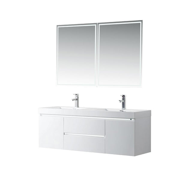 Vanity Art LED Lighted Wall-Hung Double-Sink Vanity With Resin Top, 60
