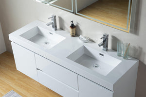 Vanity Art Glossy White Resin Top 60-inch Wall-hung Double Sink Bathroom Vanity test