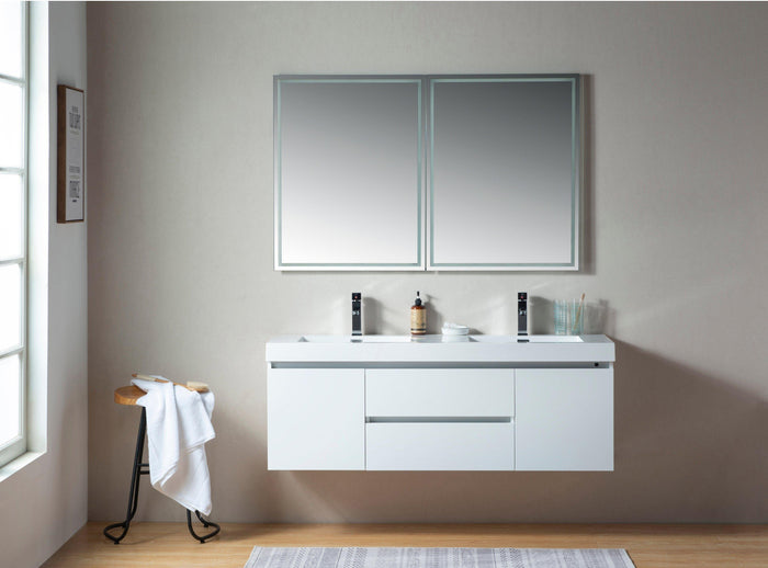Vanity Art Glossy White Resin Top 60-inch Wall-hung Double Sink Bathroom Vanity