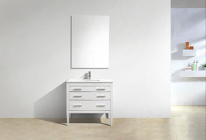 KubeBath Eiffel 36'' High Gloss White Vanity W/ White Counter Top, E36-GW test