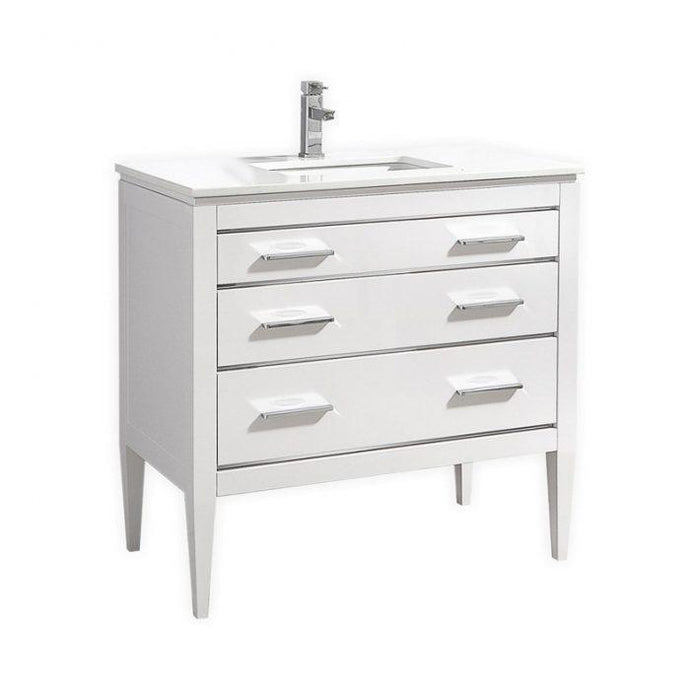 KubeBath Eiffel 36'' High Gloss White Vanity W/ White Counter Top, E36-GW