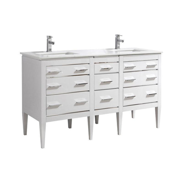 KubeBath Eiffel 60'' Double Sink High Gloss White Vanity with White Counter Top, E60-GW