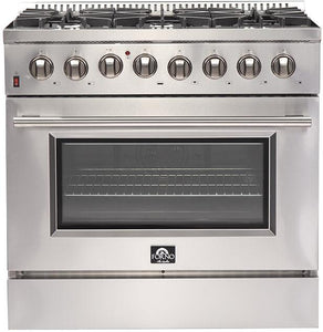 FORNO 36″ Galiano Gas Burner / Electric Oven in Stainless Steel 6 Italian Burners, FFSGS6156-36
