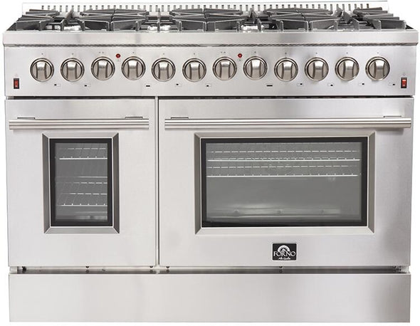 Forno 48″ Galiano Gas Burner / Electric Oven in Stainless Steel 8 Italian Burners, FFSGS6156-48