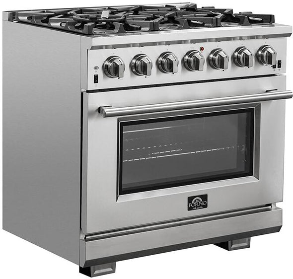 Forno 36″ Pro Series Capriasca Gas Burner / Electric Oven in Stainless Steel 6 Italian Burners, FFSGS6187-36
