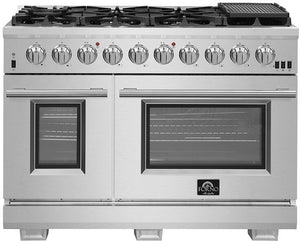 FORNO 48″ Pro Series Capriasca Gas Burner / Electric Oven in Stainless Steel 8 Italian Burners, FFSGS6187-48