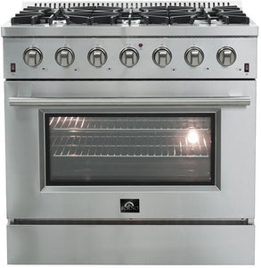 Forno 36″ Galiano Gas Burner / Gas Oven in Stainless Steel 6 Italian Burners, FFSGS6244-36