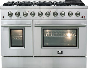 Forno 48″ Galiano Gas Burner / Gas Oven in Stainless Steel 8 Italian Burners, FFSGS6244-48
