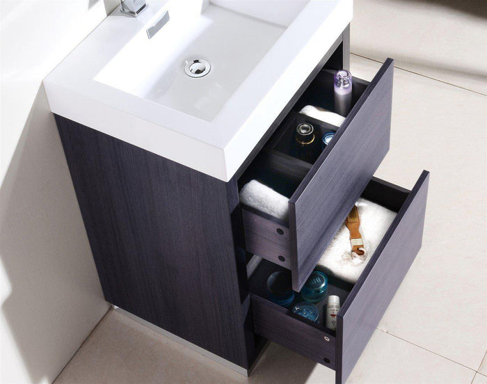 "KubeBath Bliss 24"" Free Standing Modern Bathroom Vanity - Gray Oak, FMB24-GO"