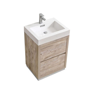 "KubeBath Bliss 24"" Free Standing Modern Bathroom Vanity - Nature Wood, FMB24-NW test"