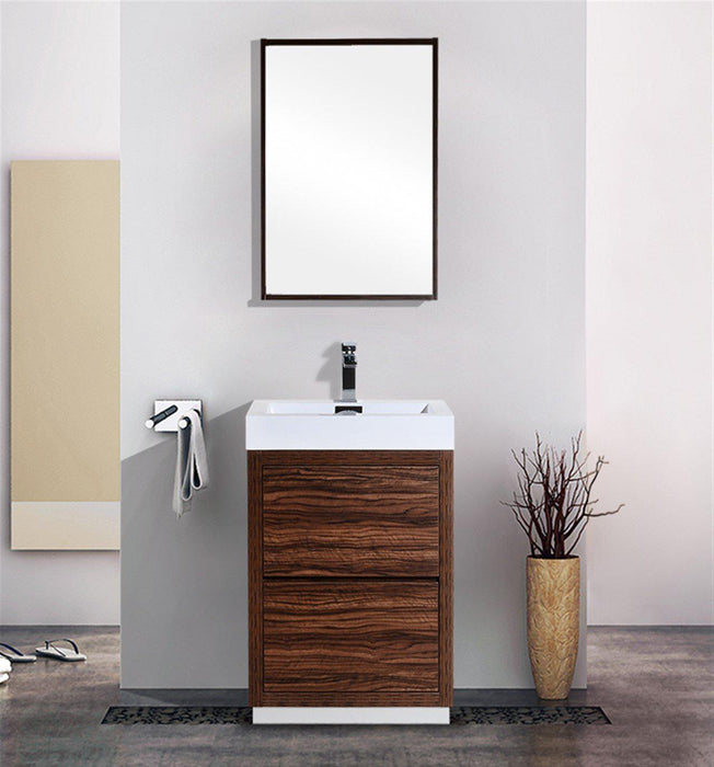 "KubeBath Bliss 30"" Free Standing Modern Bathroom Vanity - Walnut, FMB30-WNT"