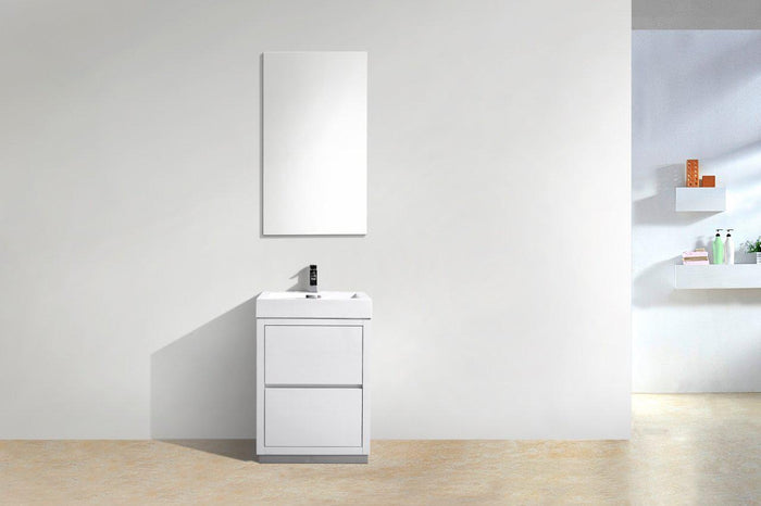 "KubeBath Bliss 24"" Free Standing Modern Bathroom Vanity - High Gloss White, FMB24-GW"