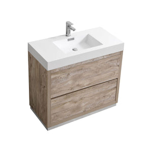 "KubeBath Bliss 36"" Free Standing Modern Bathroom Vanity - Nature Wood, FMB36-NW"