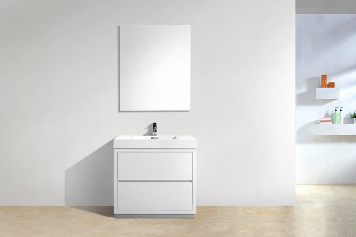 "KubeBath Bliss 36"" Free Standing Modern Bathroom Vanity - High Gloss White, FMB36-GW"