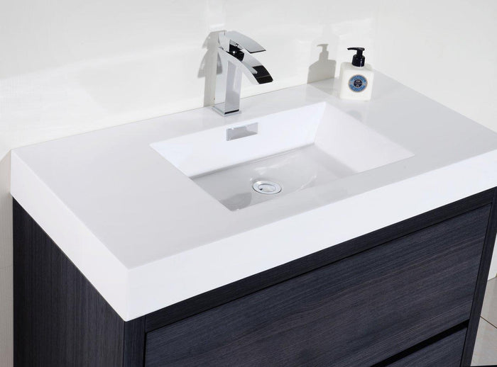 "KubeBath Bliss 40"" Free Standing Modern Bathroom Vanity - Gray Oak, FMB40-GO"
