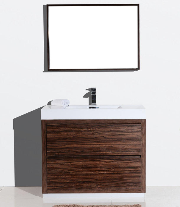 "KubeBath Bliss 40"" Free Standing Modern Bathroom Vanity - Walnut, FMB40-WNT"