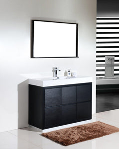 "KubeBath Bliss 48"" Free Standing Modern Bathroom Vanity - Black, FMB48-BK test"