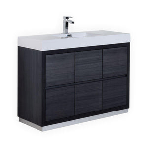 "KubeBath Bliss 48"" Free Standing Modern Bathroom Vanity - Gray Oak, FMB48-GO"