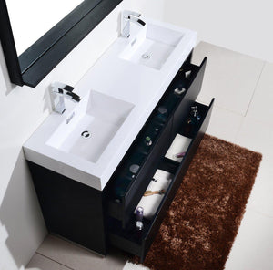 "KubeBath Bliss 60"" Double Sink Free Standing Modern Bathroom Vanity - Black, FMB60D-BK test"