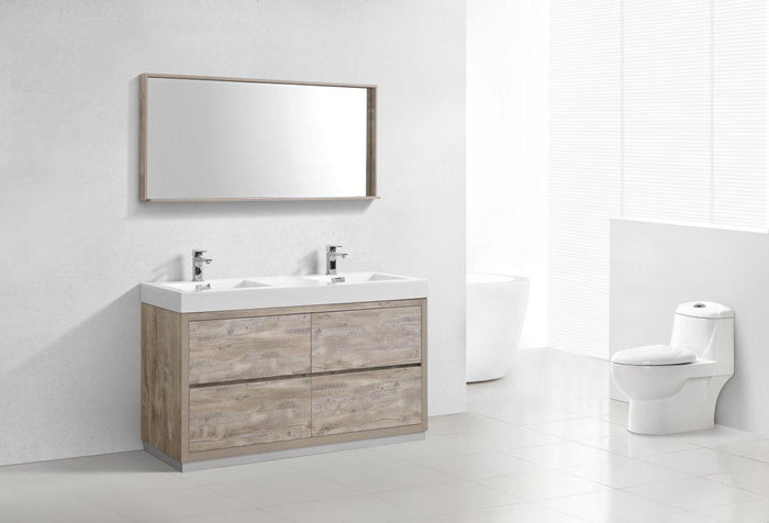"Bliss 60"" Double Sink Free Standing Modern Bathroom Vanity - Nature Wood"