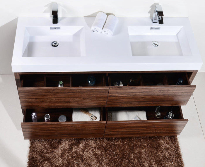 "KubeBath Bliss 60"" Double Sink Free Standing Modern Bathroom Vanity - Walnut, FMB60D-WNT"