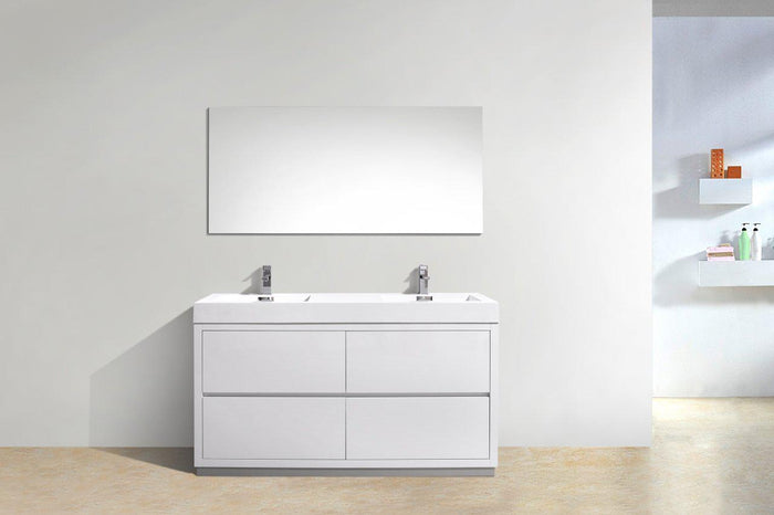 "KubeBath Bliss 60"" Double Sink Free Standing Modern Bathroom Vanity - High Gloss White, FMB60D-GW"