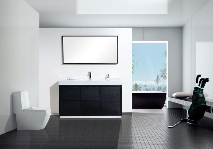"KubeBath Bliss 60"" Single Sink Free Standing Modern Bathroom Vanity - Black, FMB60S-BK"