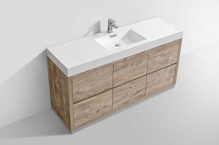 "KubeBath Bliss 60"" Single Sink Free Standing Modern Bathroom Vanity - Nature Wood, FMB60S-NW"