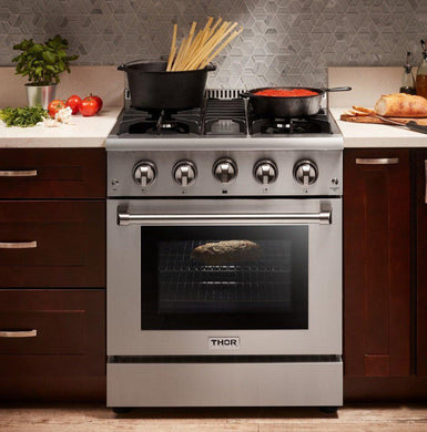 "Thor Kitchen 30"" 4.2 cu. ft. Professional Natural Gas Range in Stainless Steel, HRG3080U"
