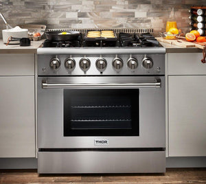 "Thor Kitchen 36"" 5.2 cu. ft. Professional Propane Gas Range in Stainless Steel, HRG3618ULP"
