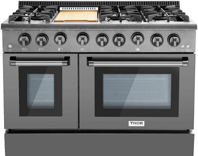 Thor Kitchen 48 in. 6.7 cu. ft. Professional Gas Range in Black Stainless Steel, HRG4808BS