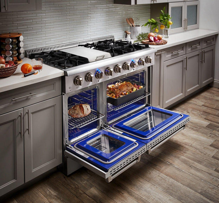 "Thor Kitchen 48"" 6.7 cu. ft. Professional Propane Gas Range in Stainless Steel, HRG4808ULP"