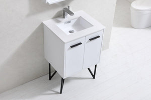 "Bosco 24"" Modern Bathroom Vanity w/ White Countertop and Matching Mirror - High Gloss White test"
