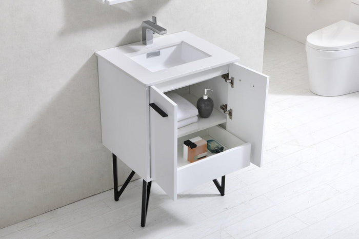 "Bosco 24"" Modern Bathroom Vanity w/ White Countertop and Matching Mirror - High Gloss White"