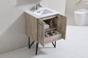 "KubeBath Bosco 24"" Modern Bathroom Vanity w/ White Countertop, KB24NW test"