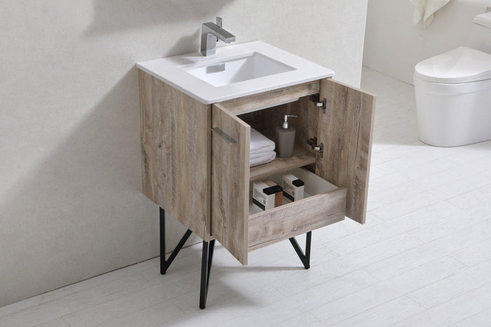 "KubeBath Bosco 24"" Modern Bathroom Vanity w/ White Countertop, KB24NW"