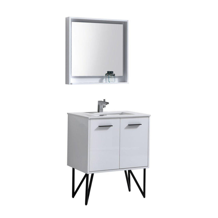 "Bosco 30"" Modern Bathroom Vanity w/ White Countertop and Matching Mirror - High Gloss White"