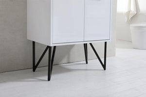 "Bosco 30"" Modern Bathroom Vanity w/ White Countertop and Matching Mirror - High Gloss White test"